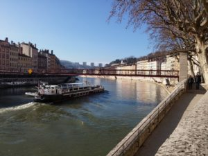 view of a boat on the Soane in Lyon
